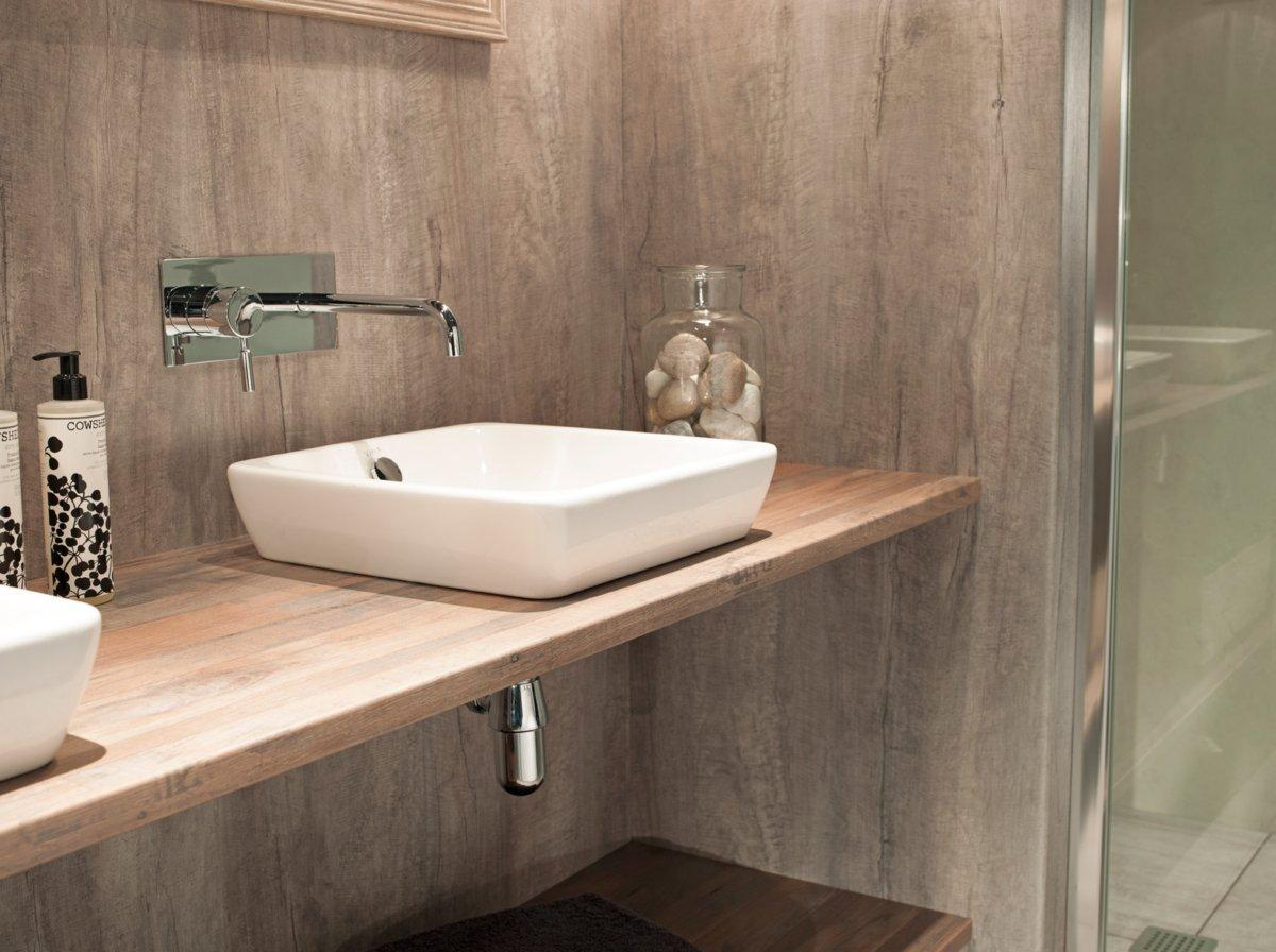 shower wall panel nuance weathered beamwood salvaged planked elm