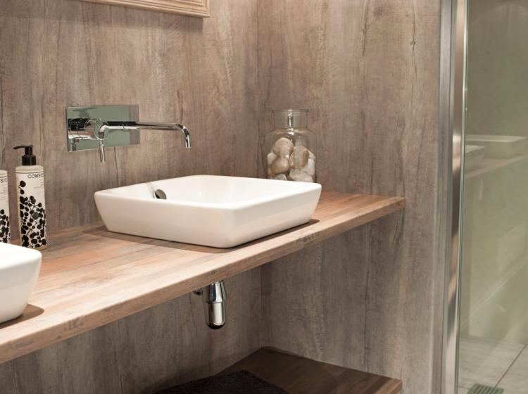 Buy Shower Wall Panel Nuance Weathered Beamwood Salvaged Planked Elm - Public bathroom wall panels